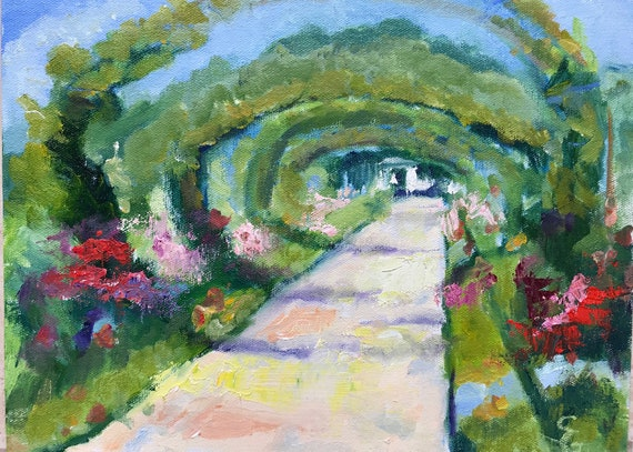 small original oil painting, landscape, Monet's Giverny
