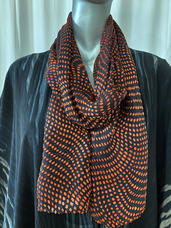 Devore Silk scarf, polka dot patterned, black and orange
