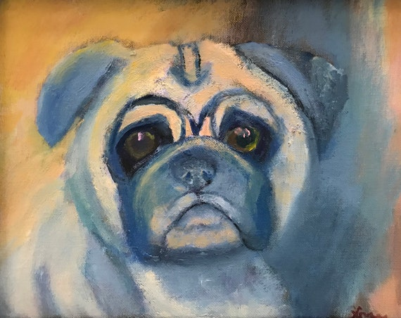 Original Oil Painting, Pug, Blue and Yellow Orange
