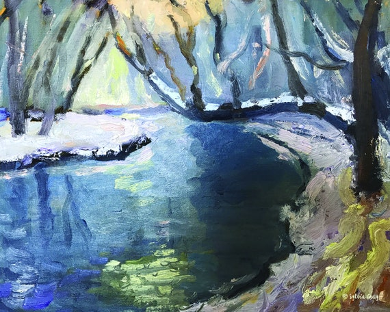 Winter Creek jpg, digital download, oil painting jpg, artwork jpg, painting jpg, wall art