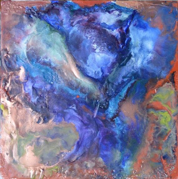 Encaustic painting, 12x12, original art, unframed, abstract