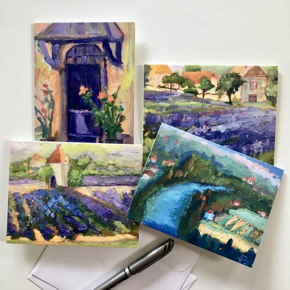 Note Cards. Package of 4 cards with images of plein air paintings from France.