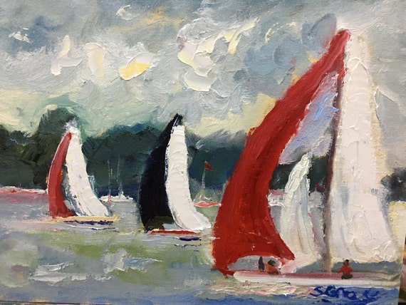 Original Oil Painting, Nautical Painting, Affordable Art, sailboat painting, 12 x 16""