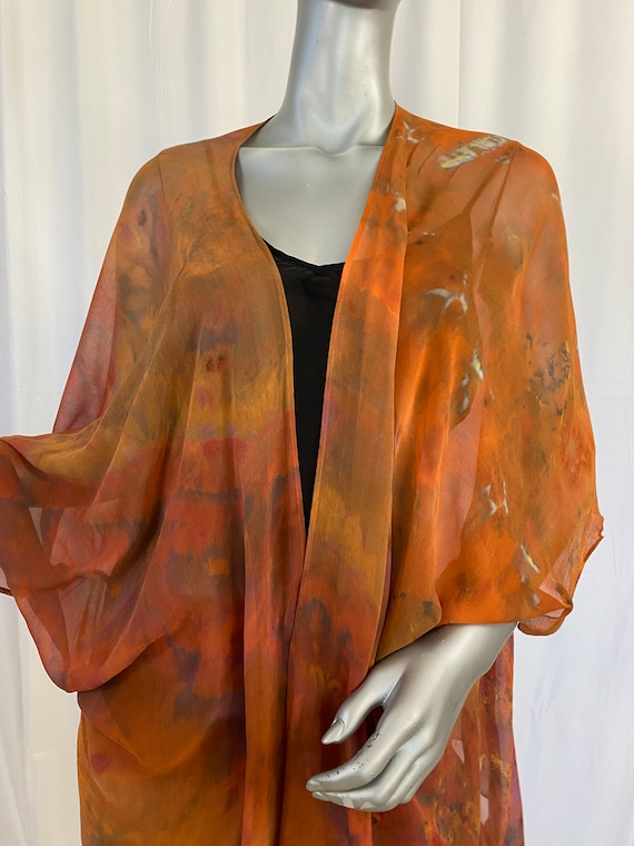silk kimono jacket, chiffon, hand dyed, one of a kind, shibori, autumn colors