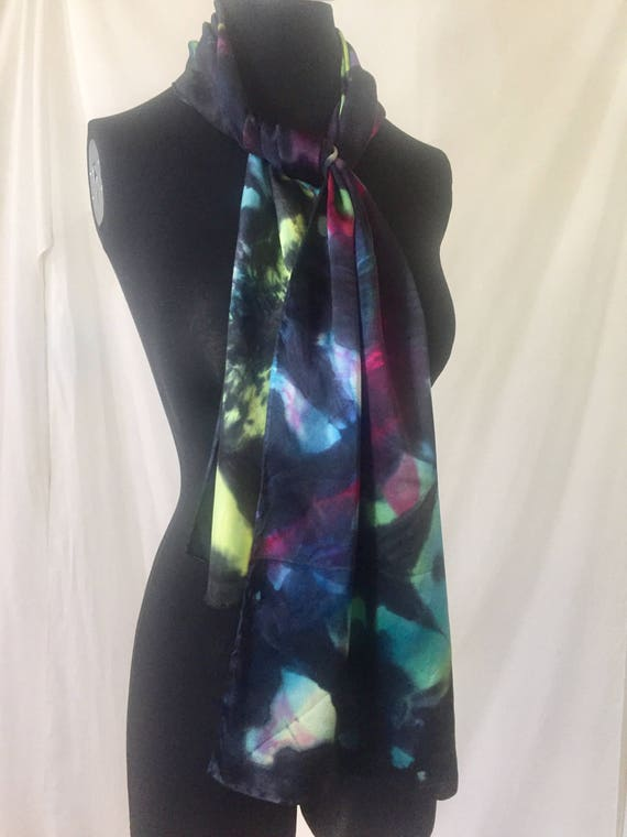 silk scarf, charmeuse, black with jewel tones