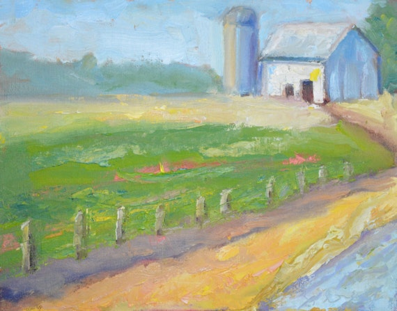 "original oil painting, landscape, 11 x 14"", unframed, farm scene"