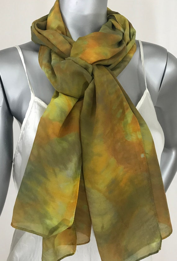 Silk Cotton Scarf, Chartreuse and Gold, Shibori Hand Dyed