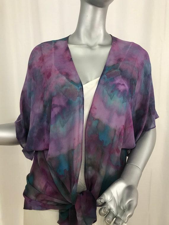 kimono jacket, silk chiffon, Shibori