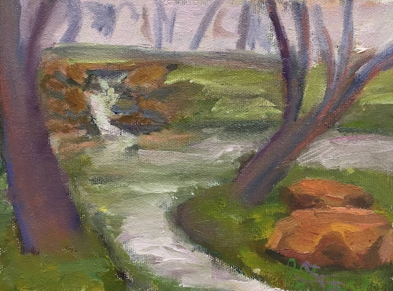 "Oil painting, original landscape, 6 x 8"", unframed"