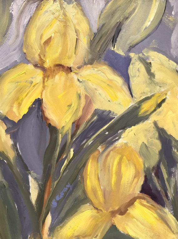 "Original oil painting,  9 x 12"", yellow irises"