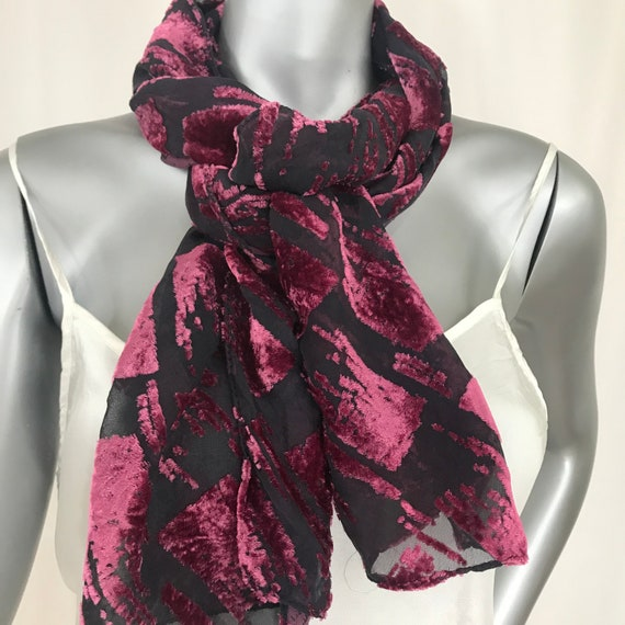 Devore Velvet Scarf, Silk Rayon, Red and Black