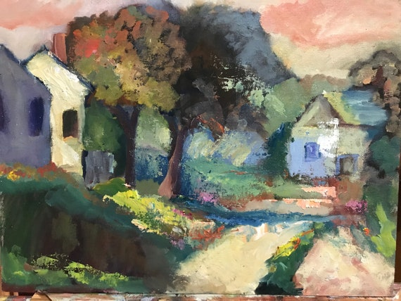 "oil painting, impressionistic landscape, 12x16"", unframed, Fall Houses"