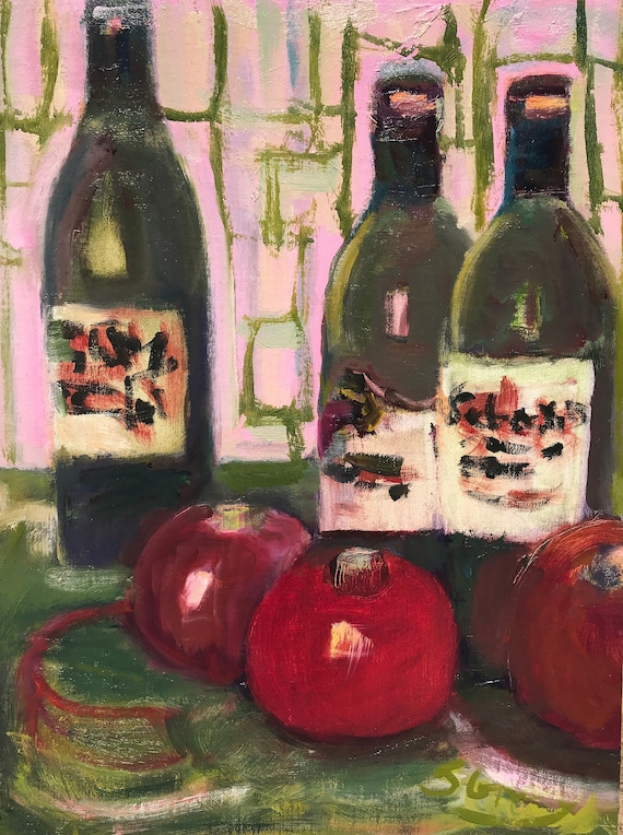 "Painting, original oil, Wine and pomegranates, 12 x 16"", unframed"