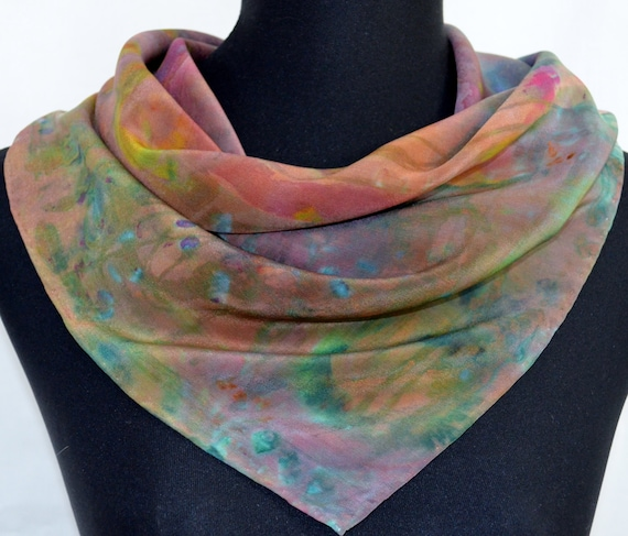 silk scarf, small square, one of a kind wearable art, hand-painted and dyed, crepe de chine