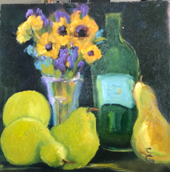 Original Oil Painting, still life, wine, sunflowers, pears