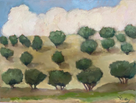 Original oil painting, Italian landscape with olive grove