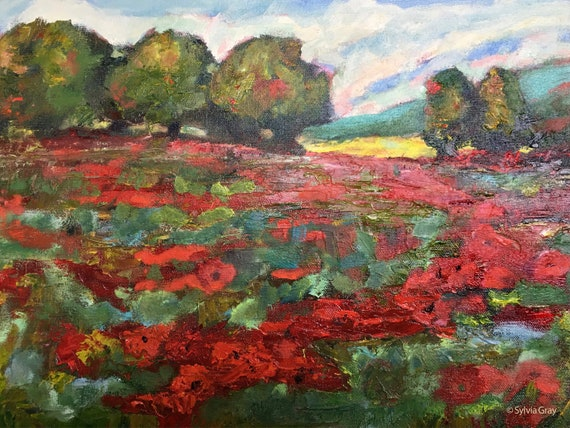 "original oil painting, French landscape, ""Red Poppy Field"", 12 x 16"", unframed, impressionism"
