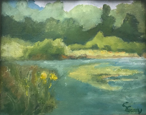 Landscape with pond, original oil painting,  9 x 12""