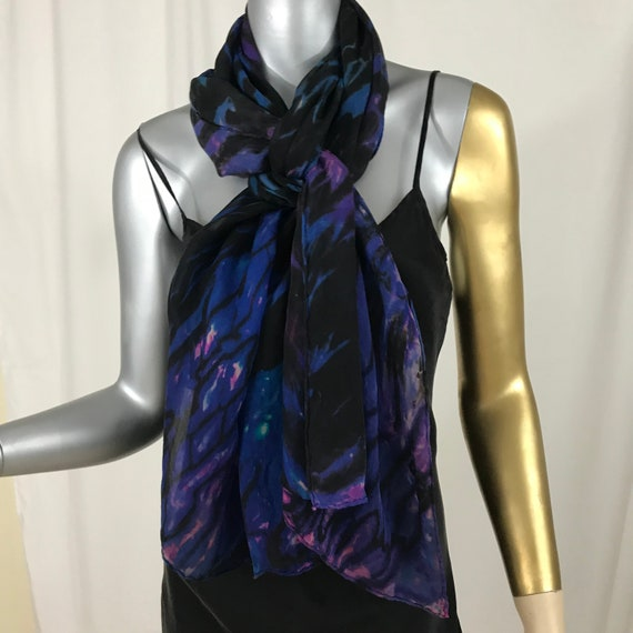 silk scarf shoulder wrap, hand dyed sheer,shibori technique, black, royal blue, touches of hot pink.