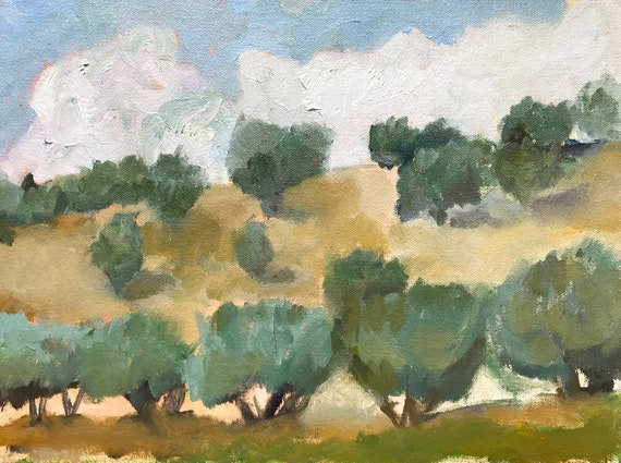 Original oil painting, Italian landscape with olive grove, 9 x 12""