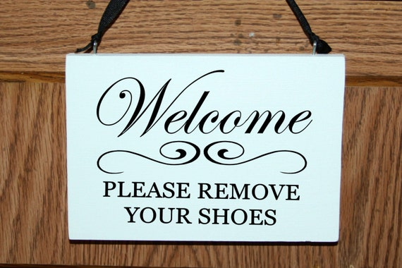 a7963a552bfb Welcome please remove your shoes wood sign door hanger