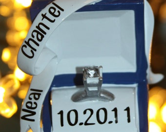 Engagement ring personalized ornament with names and date