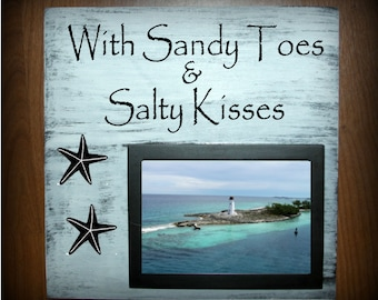 With Sandy Toes & Salty Kisses wood sign with picture frame - holds a 5 x 7 photo