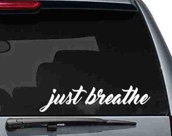 just breathe vinyl car decal