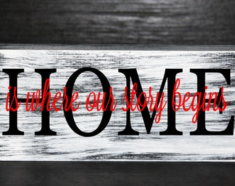 Home is where our story begins wood block