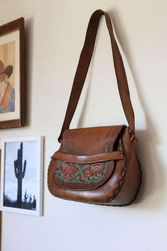 Vintage Tooled Leather Mushroom Design Shoulder B… - image 2