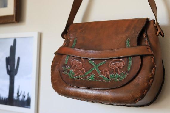 Vintage Tooled Leather Mushroom Design Shoulder B… - image 3