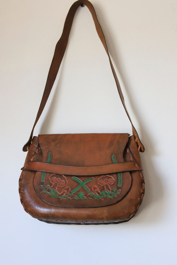 Vintage Tooled Leather Mushroom Design Shoulder B… - image 1