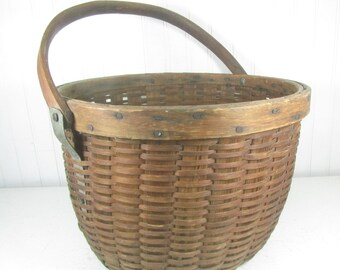 Antique Basket, Wicker Basket, shabby chic decor, wicker basket,  French farmhouse,vintage wicker