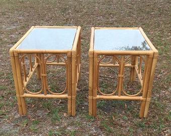 Vintage End Tables, Rattan Furniture, Glass Top Table, Rattan Table,  Natural Wicker, Boho Decor,Tropial Decor, Beach Decor, One Table