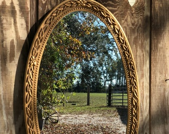 Large  mirror, vintage mirror, gold mirror, ornate mirror, 1970s decor, wall mirror, wall decor, wall hanging ,
