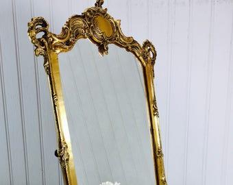 Vintage mirror, brass mirror, ornate mirror, table top mirror, brass,Victorian style, vintage mirror, shabby chic mirror.