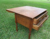 Antique Drop Leaf Table and Drawers, Wood Furniture, Farmhouse Decor, wood drawer pulls, kitchen island, buffet