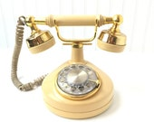 Vintage Telephone, Brass Telephone, Rotery Dial phone, Shabby Chic, French phone, small phone 1970-80s