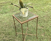 Metal Plant Stand, metal side table, beveled glass top, contemporary furniture,French Country, lattes style table, Farm House Decor, garden,