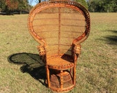 Wicker fan chair, peacock chair, 1970s chair, wicker chair, rattan chair, boho decor, natural, wicker furniture, porch decor, vintage chair,