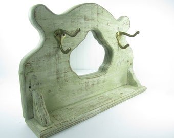 Shabby Chic Mirror, Shabby Chic Hat Rack, Mirror, Entry Mirror, Table Top  Mirror,