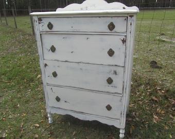 Attirant Antique Chest Of Drawers, Shabby Chic Dresser, Shabby Chic Furniture, White  Dresser, Farmhouse Decor, Solid Wood, Brass Hardware