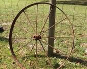 Antique wagon wheel, metal wheel, iron works, wall hanging, yard art, farm find, authentic, rustic decor,ndustrial, Wagon Wheel