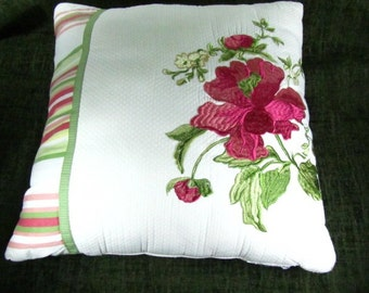 Vintage pillow, shabby chic decor,floral pink pillow, striped pillow, embroidery, cotton,green,pink,red,