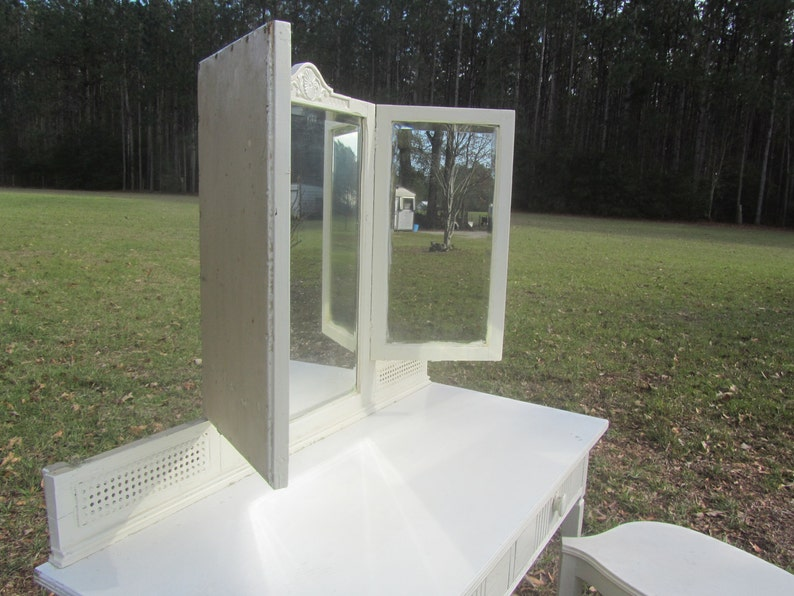 Wood Desk and Stool fixer upper Furniture solid wood Shabby Chic Vanity Dresser mirror and Stool dressing table and stool