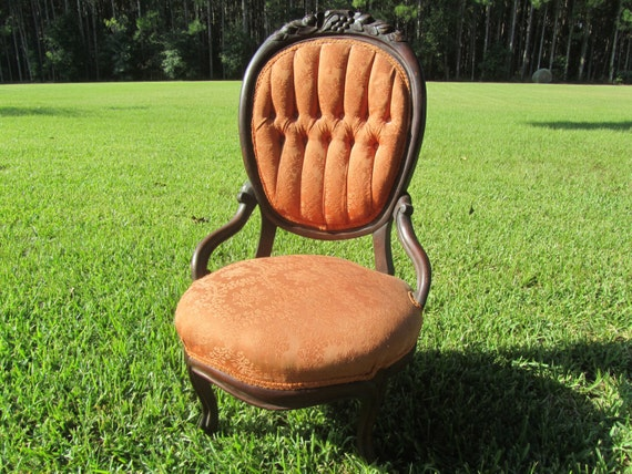 image 0 - Vintage Chair Wood Chair Furniture Tufted Chair Slipper Etsy