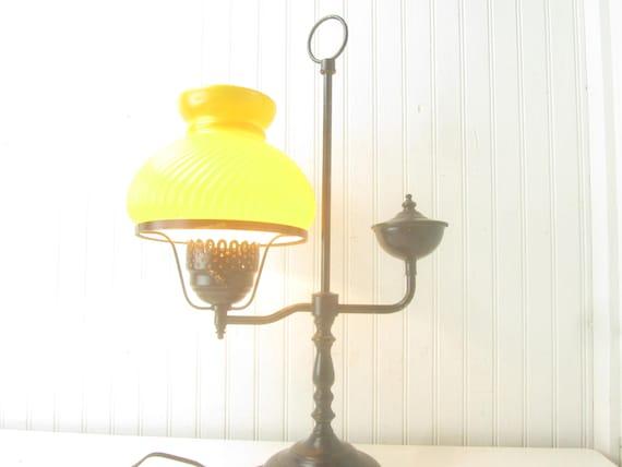 Vintage Metal Lamp Glass Shade Lamp Table Lamp Yellow Etsy