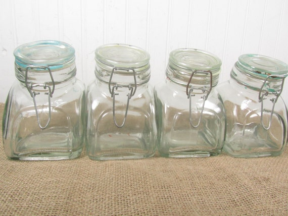Vintage Clear Glass Canisters Displayjar Canister Candy Jar Kitchen Decor Canister Set Candy Shop