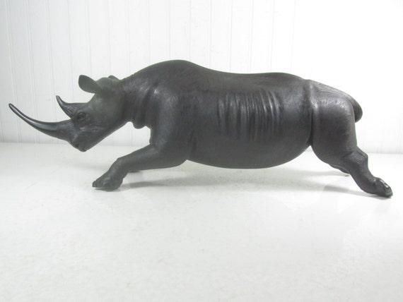 wood rhinoceros large rhino figurine iron wood ebony home etsy