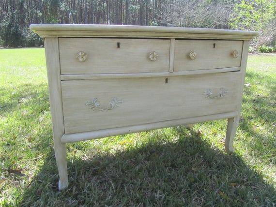 image 0 - Vintage Wood Dresser Shabby Chic Furniture Antiqued White Etsy